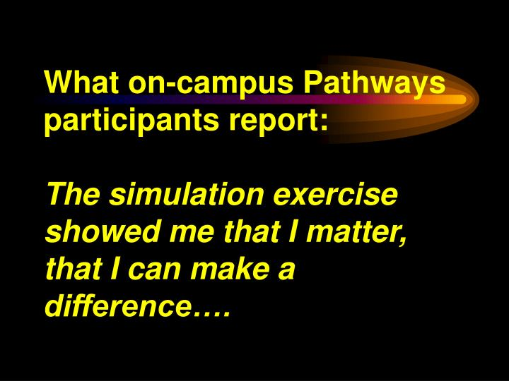What on-campus Pathways participants report: