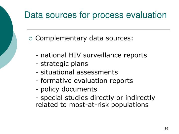 Data sources for process evaluation