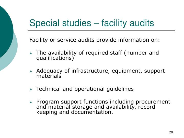 Special studies – facility audits