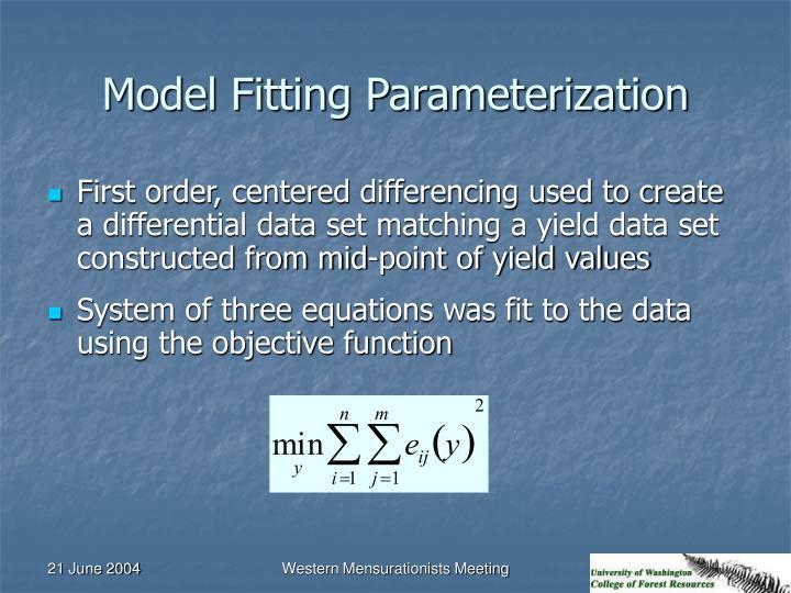 Model Fitting Parameterization