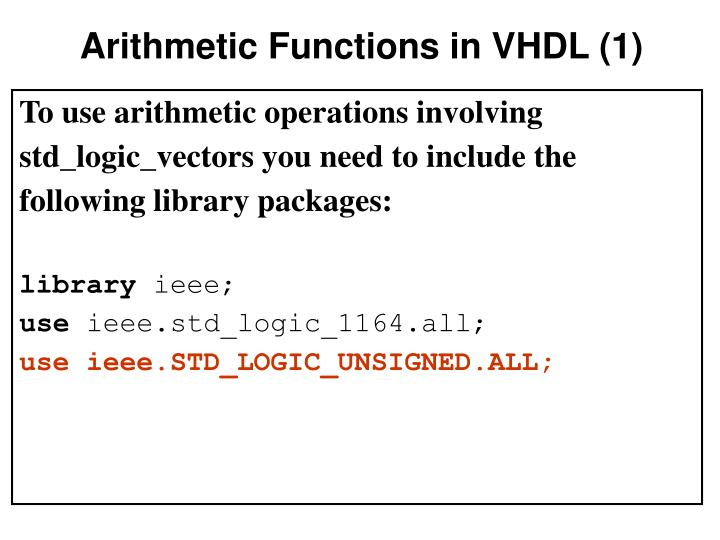 Arithmetic Functions in VHDL (1)