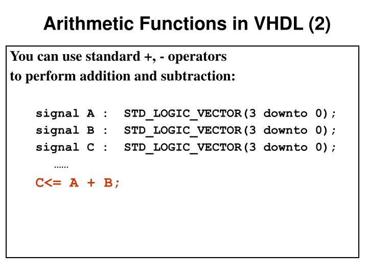 Arithmetic Functions in VHDL (2)