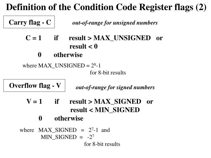 Definition of the Condition Code Register flags (2)