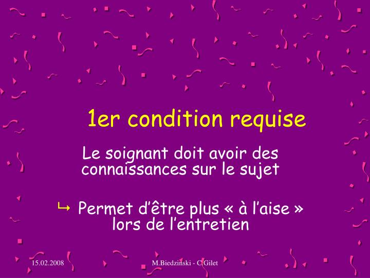 1er condition requise