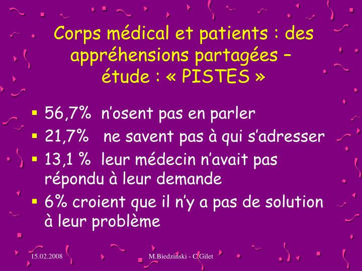 Corps médical et patients: des appréhensions partagées –