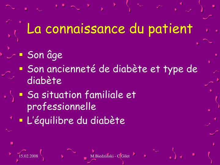 La connaissance du patient
