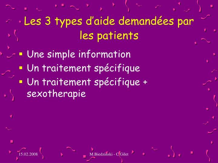 Les 3 types d'aide demandées par les patients