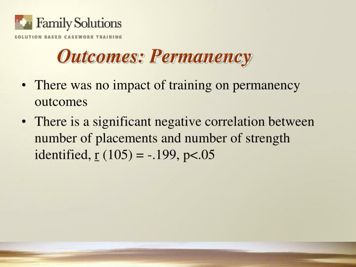 There was no impact of training on permanency outcomes
