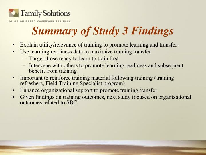 Explain utility/relevance of training to promote learning and transfer