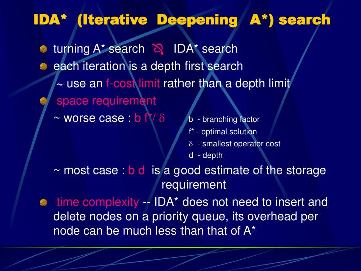 IDA*  (Iterative  Deepening  A*) search