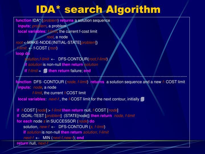 IDA* search Algorithm