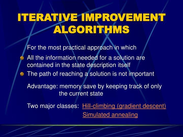 ITERATIVE IMPROVEMENT ALGORITHMS