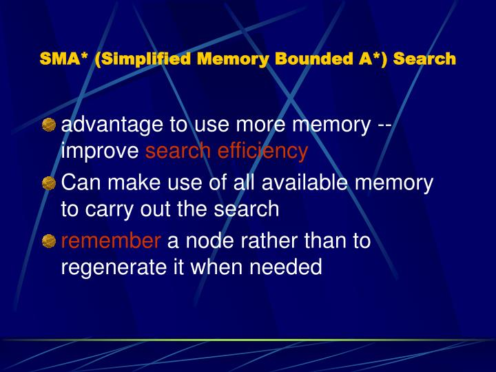 SMA* (Simplified Memory Bounded A*) Search