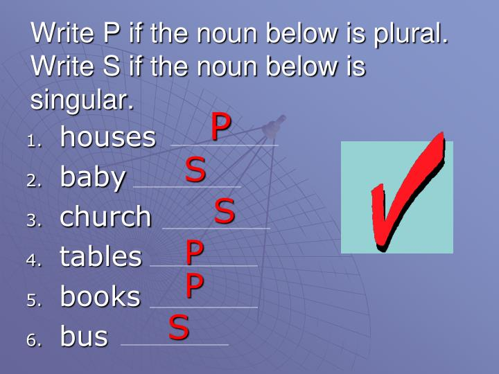 Write P if the noun below is plural.  Write S if the noun below is singular.