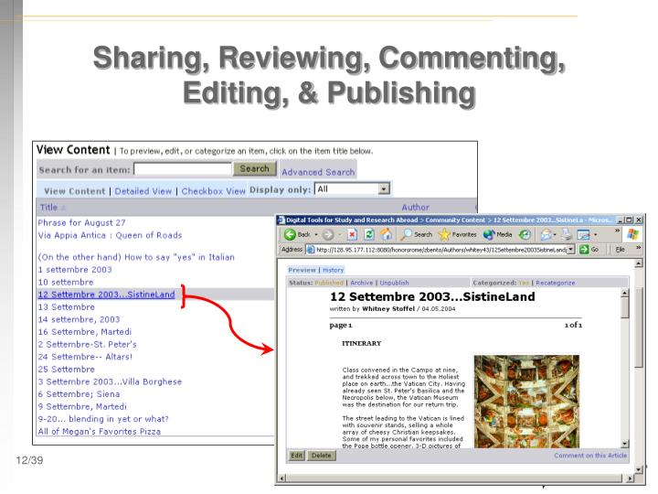 Sharing, Reviewing, Commenting, Editing, & Publishing