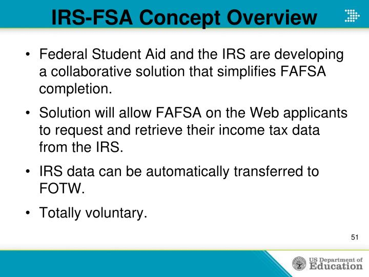 IRS-FSA Concept Overview