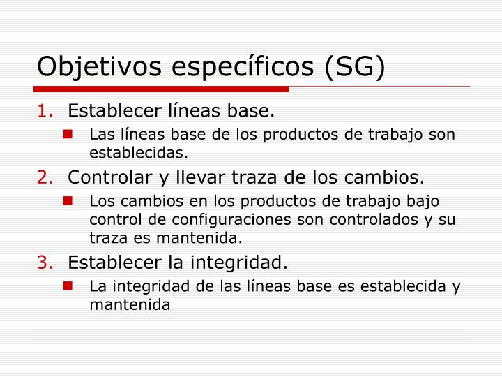 Objetivos específicos (SG)