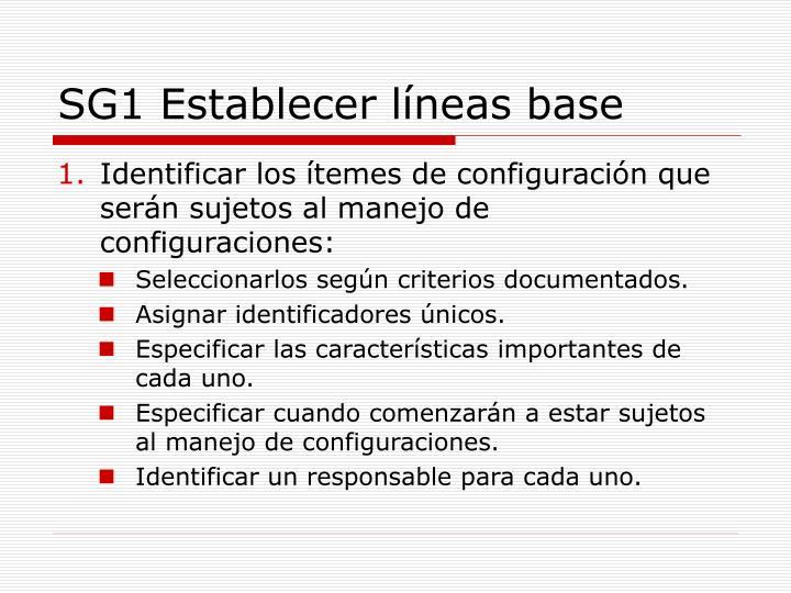 SG1 Establecer líneas base