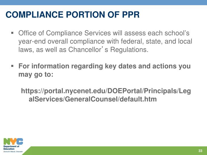 COMPLIANCE PORTION OF PPR