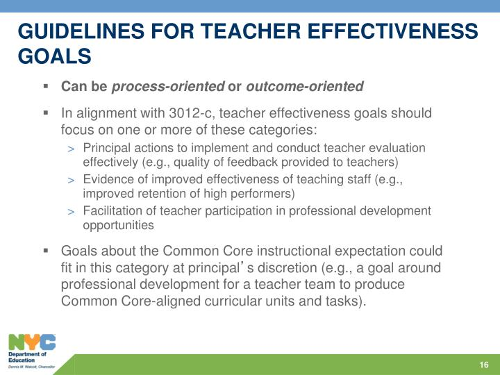GUIDELINES FOR TEACHER EFFECTIVENESS GOALS