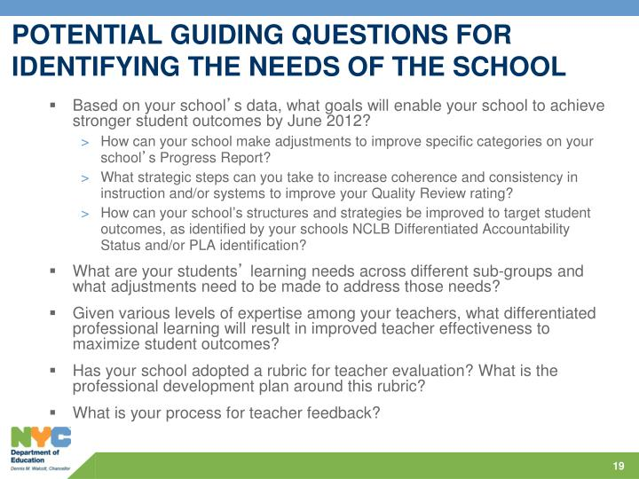 POTENTIAL GUIDING QUESTIONS FOR IDENTIFYING THE NEEDS OF THE SCHOOL