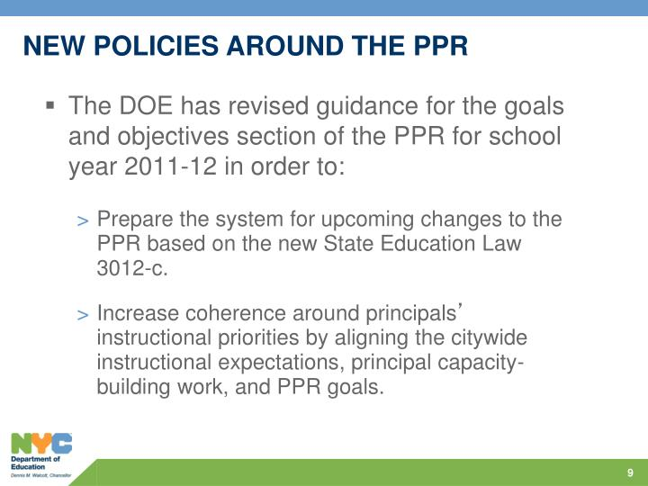 NEW POLICIES AROUND THE PPR