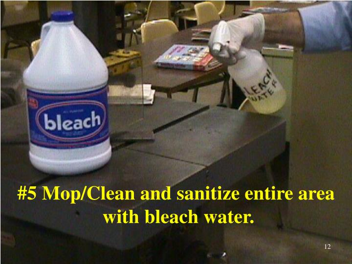 #5 Mop/Clean and sanitize entire area