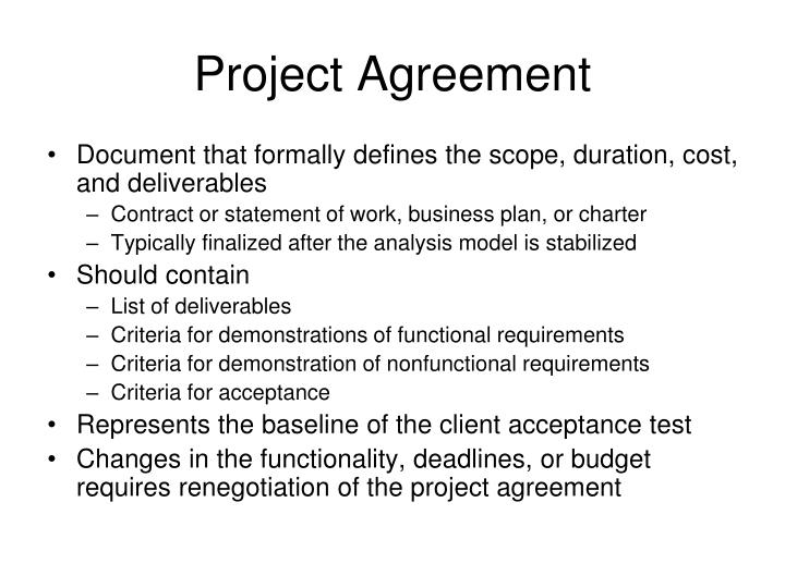 Project Agreement