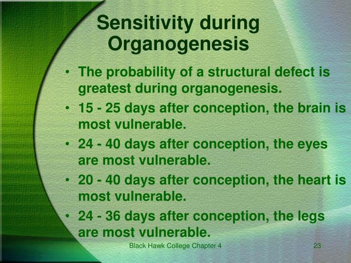 Sensitivity during Organogenesis