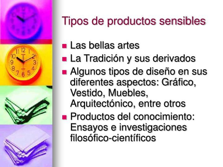 Tipos de productos sensibles