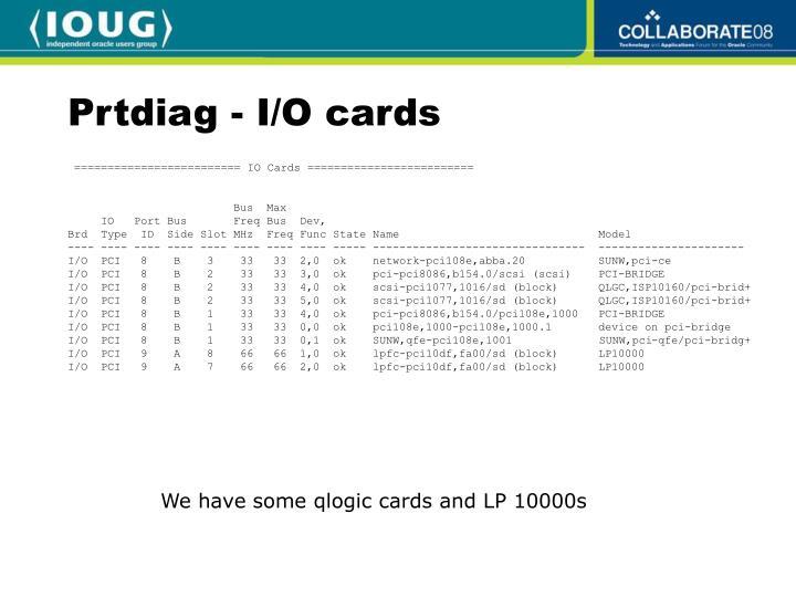 Prtdiag - I/O cards