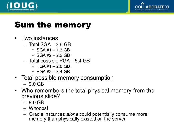 Sum the memory