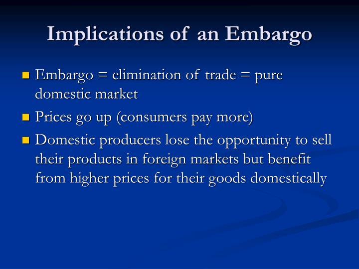 Implications of an Embargo