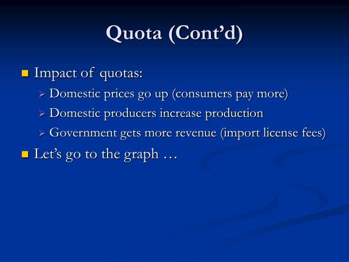 Quota (Cont'd)