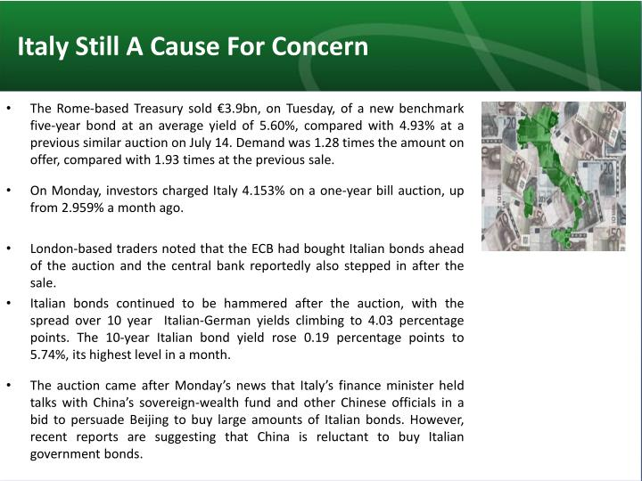 Italy Still A Cause For Concern