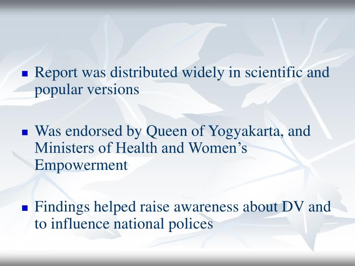Report was distributed widely in scientific and popular versions