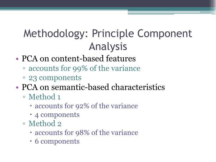 Methodology: Principle Component Analysis