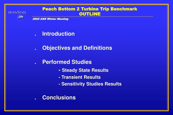 Peach bottom 2 turbine trip benchmark outline