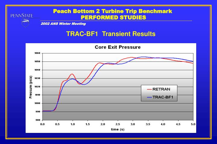 Peach Bottom 2 Turbine Trip Benchmark