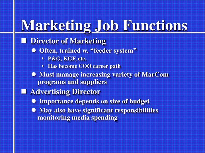 Marketing Job Functions
