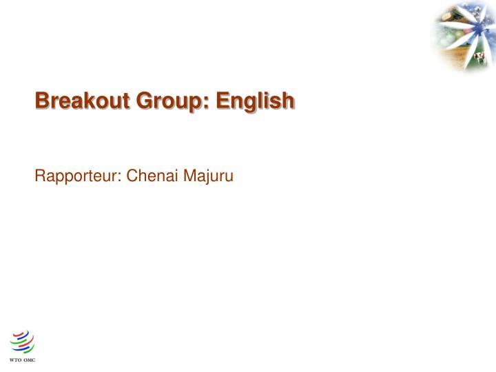 Breakout Group: English