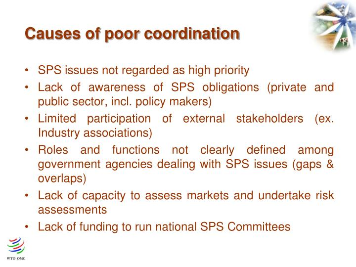 Causes of poor coordination