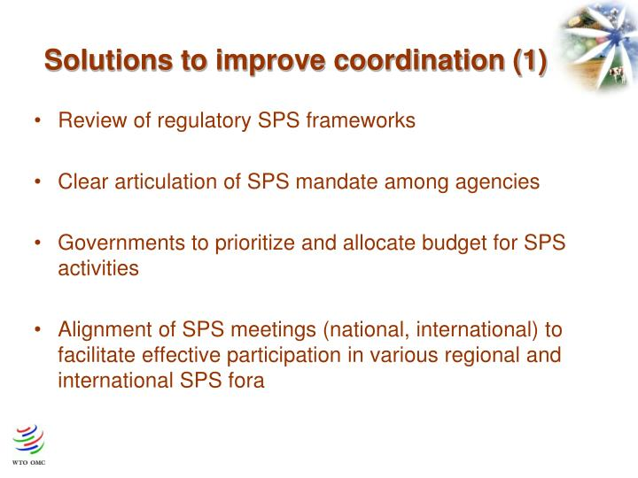 Solutions to improve coordination (1)