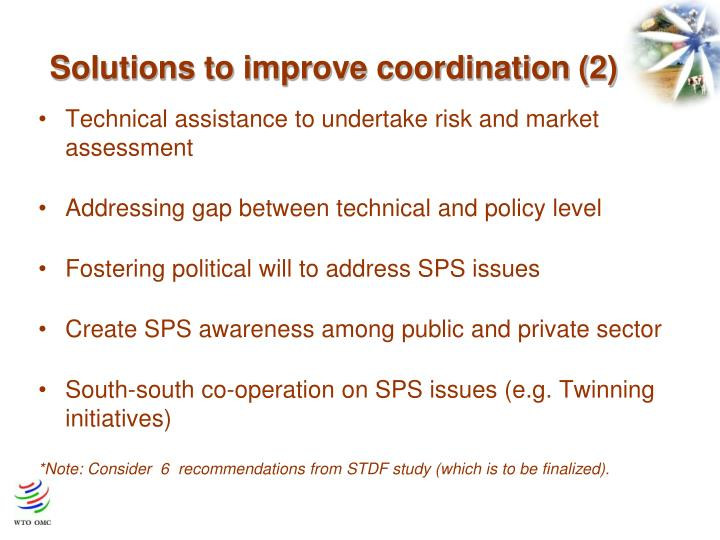 Solutions to improve coordination (2)