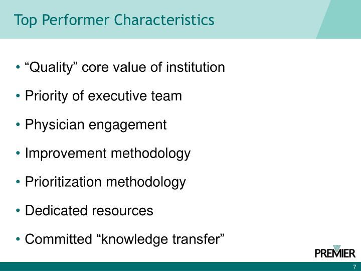 Top Performer Characteristics