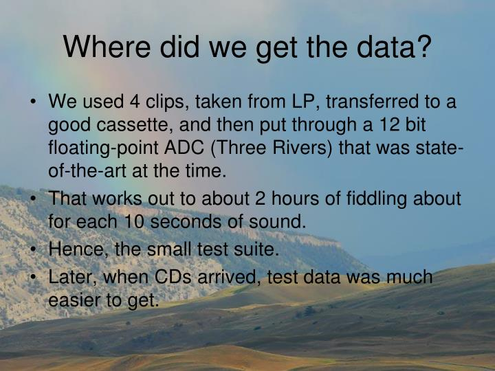 Where did we get the data?