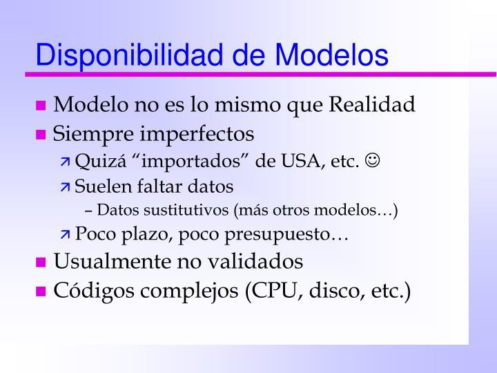 Disponibilidad de Modelos