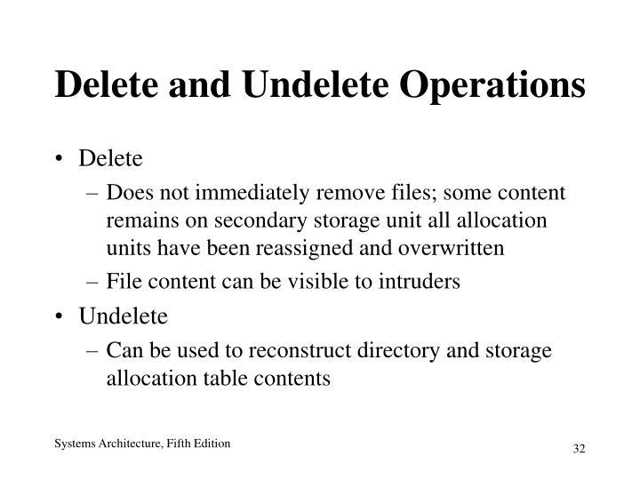 Delete and Undelete Operations