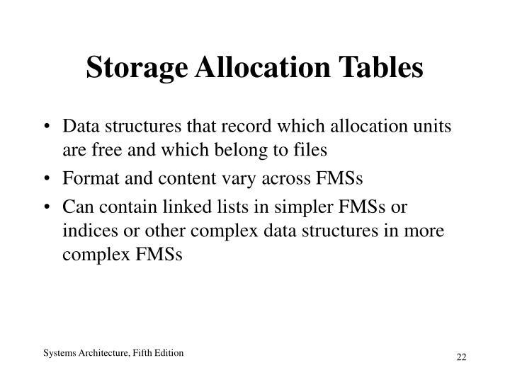 Storage Allocation Tables