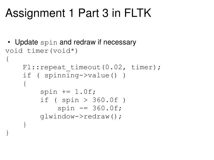 Assignment 1 Part 3 in FLTK